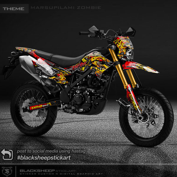 Decal sticker Kawasaki NEWDTRACKER marsupilami zombie