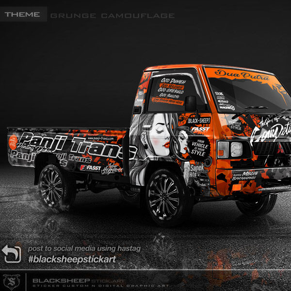 Decal sticker Mitsubishi L300 grunge camouflage