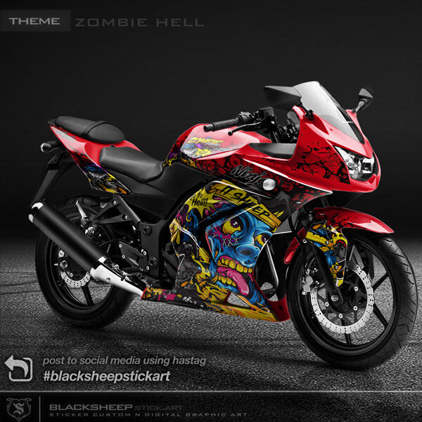 Decal sticker Kawasaki NINJA250 karbu zombie hell