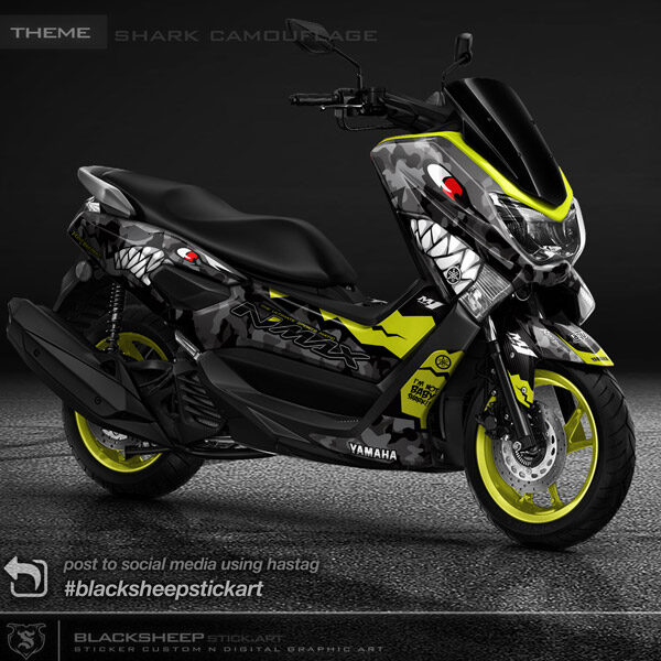 Decal sticker untuk Yamaha NMAX shark camouflage