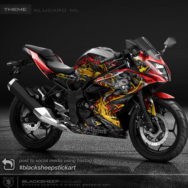 Decal sticker Kawasaki NINJA 250 mono alucard ML