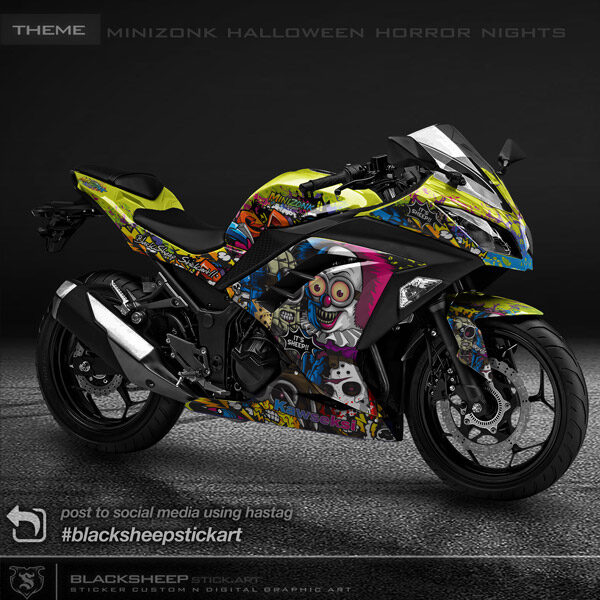 Decal sticker Kawasaki NINJA250fi Minion halloween horror nights