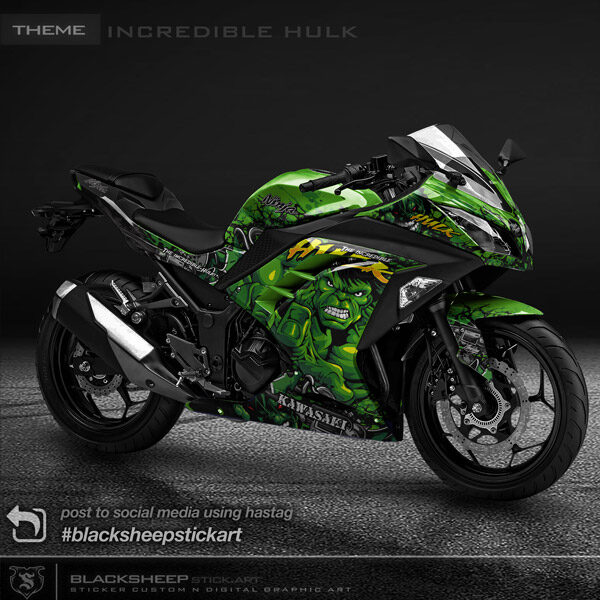 Decal sticker Kawasaki NINJA 250fi incredible hulk