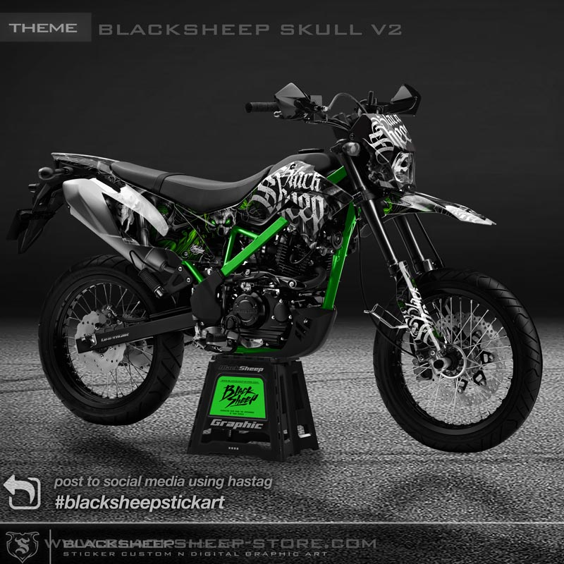 Decal sticker Kawasaki New DTRACKER blacksheep skull v2