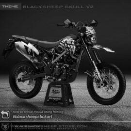 Decal sticker Kawasaki New DTRACKER blacksheep skull v2