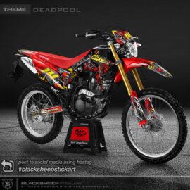 DECAL stiker Honda CRF150 Deadpool spesifikasi material orajet,laminasi glossy/doff, warna variabel, dan fullset