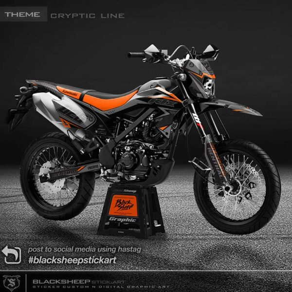 Decal sticker Kawasaki KLX bf supermoto v5 spesifikasi material orajet,laminasi glossy/doff, warna variabel, dan fullset