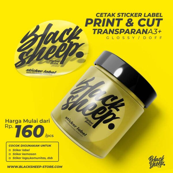 Sticker Printcut Label / Packaging bahan Transparan ini biasa digunakan untukStiker piala / trophyStiker kemasanKertas Sticker transparan ...