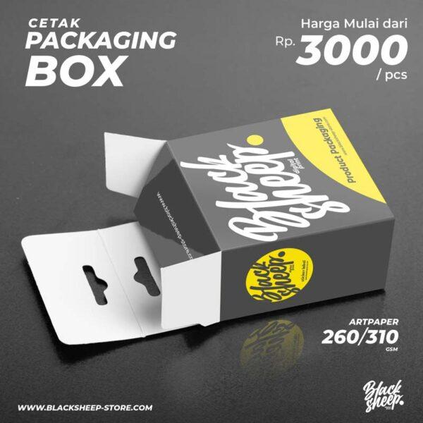 Paket Packaging kertas A3+ dengan bahan artpaper 260/310 gsm, blues white, dan linen yang sudah terpotong sesuai pola