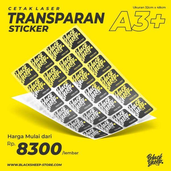 Cetak Laser Sticker Vinyl Transaparan A3+