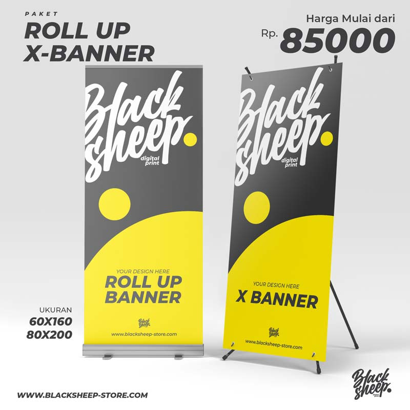 Cetak X-BANNER dan ROLL UP BANNER dengan bahan jerman glossy/doff ukuran 60cm x 160cm dan 80cm x 200cm high resolution